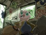 anzu_(01010611) banette box cardboard_box day graffiti green_eyes highres holding holding_microphone hoothoot jigglypuff looking_up microphone murkrow music open_mouth pokemon pokemon_(creature) shuppet singing spinarak symbol-only_commentary tongue window