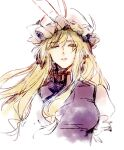 1girl bangs blonde_hair bow breasts chinese_commentary closed_eyes commentary_request crying dress facing_viewer hair_bow hat hat_ribbon hug_(yourhug) medium_breasts mob_cap ribbon simple_background solo tabard touhou upper_body white_background white_dress white_headwear wind yakumo_yukari