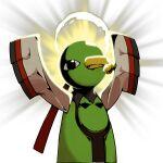 beak berry_(pokemon) bird black_eyes commentary_request halo kiwi_of_ruin korean_commentary mouth_hold no_humans pokemon pokemon_(creature) sitrus_berry solo transparent_background xatu