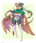 1girl :d alternate_costume arrow_(projectile) bangs bodysuit bodysuit_under_clothes boots bow_(weapon) breasts commentary_request cosplay decidueye decidueye_(cosplay) floating_hair flower full_body gloves green_eyes green_hair hair_flower hair_ornament highres holding holding_arrow holding_bow_(weapon) holding_weapon leotard long_hair looking_to_the_side mallow_(pokemon) oomasa_teikoku open_mouth pink_flower pokemon pokemon_(game) pokemon_sm skin_tight smile solo swept_bangs teeth thigh-highs thigh_boots tongue twintails upper_teeth weapon white_footwear white_gloves white_leotard