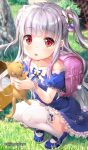1girl :o animal backpack bag bangs blue_dress blue_footwear blurry blurry_background blush bow cat character_request collarbone commentary_request day depth_of_field dress eyebrows_visible_through_hair frilled_dress frilled_legwear frills fujima_takuya full_body grey_hair hair_bow highres holding holding_animal isekai_ni_tobasaretara_papa_ni_nattandaga long_hair looking_at_viewer off-shoulder_dress off_shoulder outdoors parted_lips puffy_short_sleeves puffy_sleeves randoseru red_eyes shoes short_sleeves solo squatting thigh-highs twitter_username two_side_up very_long_hair white_bow white_legwear
