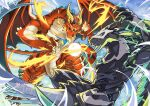 animal_focus aqua_sclera arms_up battle black_sclera blue_sky claws closed_mouth clouds colored_sclera commentary_request day dragon electricity embear_2019 energy_ball eye_contact fire flying glint green_eyes highres horns looking_at_another midair muscular no_humans orange_eyes outdoors red_wings shult_(world_flipper) sky vagner_(world_flipper) wind wings world_flipper