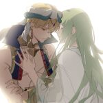 1boy 1other absurdres arabian_clothes bangs bare_shoulders blonde_hair closed_eyes closed_mouth crossed_arms earrings enkidu_(fate) eyebrows_visible_through_hair fading fate/strange_fake fate_(series) gilgamesh_(caster)_(fate) gilgamesh_(fate) green_hair hair_between_eyes highres jewelry long_hair long_sleeves parted_lips red_eyes robe simple_background turban upper_body very_long_hair white_background white_robe wide_sleeves zhibuji_loom
