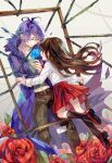 1boy 1girl blue_flower blue_rose brown_hair closed_eyes coat english_commentary flower garry_(ib) harrymiao highres ib ib_(ib) long_hair open_mouth painting_(object) purple_hair red_eyes red_flower red_rose rose skirt