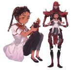 1boy 1girl apex_legends black_pants brown_hair closed_eyes collarbone dark-skinned_female dark_skin dress hair_behind_ear holding holding_toy humanoid_robot lifting_person loba_(apex_legends) looking_down pants revenant_(apex_legends) science_fiction shourou_kanna simulacrum_(titanfall) toy white_dress younger