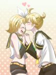 1boy 1girl absurdres blonde_hair blush brother_and_sister closed_eyes commentary hair_ornament hairclip heart highres kagamine_len kagamine_rin necktie ribbon sailor_collar short_hair siblings smile twins twintails vocaloid yuyu_hirase