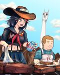 1boy 1girl absurdres alcohol apron armband beer beer_can black_hair blue_eyes blue_sky bobby_hill brown_hair can clouds cowboy_hat crossover food forehead_protector grill hat highres holding holding_can kill_la_kill king_of_the_hill matoi_ryuuko midriff multicolored_hair neckerchief nyanko_daisensou open_mouth outdoors school_uniform serafuku shirt skirt sky smile steak steam streaked_hair suspender_skirt suspenders t-shirt tactimint