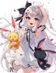1girl :d absurdres ahoge arm_up armpits bangs bare_arms bare_shoulders bird_hair_ornament black_bow bow bunny_hair_ornament commentary_request dress eyebrows_behind_hair grey_hair hair_bow hair_ornament hairclip highres kaguya_(srx61800) long_hair looking_at_viewer multicolored_hair nijisanji object_hug open_mouth petals purple_hair red_eyes simple_background sleeveless sleeveless_dress smile solo streaked_hair stuffed_animal stuffed_bunny stuffed_toy two_side_up very_long_hair virtual_youtuber white_background white_dress x_hair_ornament yorumi_rena