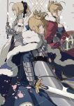 3girls absurdres ahoge armor armored_dress artoria_pendragon_(fate) artoria_pendragon_(lancer)_(fate) bare_shoulders black_bow blonde_hair bow braid breasts caliburn_(fate) cape cherry_blossoms crown detached_sleeves excalibur_(fate/stay_night) falling_petals fate/grand_order fate/stay_night fate/unlimited_codes fate_(series) french_braid from_side fur-trimmed_cape fur_trim gauntlets green_eyes hair_between_eyes highres holding holding_sword holding_weapon lance large_breasts looking_at_viewer multiple_girls petals polearm ponytail rhongomyniad_(fate) saber saber_lily sideboob sidelocks sword weapon zhibuji_loom