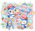 >_< blush_stickers character_print commentary_request eating food grey_eyes hatted_pokemon holding ice_cream ice_cream_cone kuo looking_at_viewer mint no_humans notice_lines open_mouth outline pink_headwear piplup pokemon pokemon_(creature) popsicle sign star_(symbol) tongue