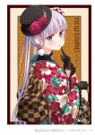 1girl bangs black_gloves black_headwear copyright_name earrings eyebrows_visible_through_hair floral_print flower from_side gloves hat hat_flower highres japanese_clothes jewelry kimono long_hair looking_at_viewer new_game! official_art open_mouth page_number polka_dot_gloves polka_dot_headwear print_kimono red_flower shiny shiny_hair silver_hair solo suzukaze_aoba tokunou_shoutarou twintails upper_body very_long_hair violet_eyes yukata