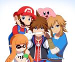 blue_eyes brown_hair facial_hair fang fangs fingerless_gloves gloves highres inkling jewelry kingdom_hearts kirby kirby_(series) link long_hair looking_at_viewer male_focus mario mole mole_under_mouth multiple_boys mustache necklace open_mouth overalls patdarux pointy_ears redhead short_hair simple_background smile sora_(kingdom_hearts) spiky_hair splatoon_(series) splatoon_1 squid super_mario_bros. super_mario_bros. super_smash_bros. tentacle_hair the_legend_of_zelda the_legend_of_zelda:_breath_of_the_wild