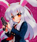 1girl animal_ears bangs blue_jacket blue_sleeves breasts buttons collar collared_shirt eyebrows_visible_through_hair eyes_visible_through_hair finger_on_trigger gun hair_between_eyes hands_up jacket long_hair long_sleeves looking_at_viewer medium_breasts multicolored multicolored_eyes necktie open_clothes open_jacket open_mouth orange_eyes pink_background purple_hair qqqrinkappp rabbit_ears rabbit_tail red_eyes red_neckwear reisen_udongein_inaba shikishi shirt simple_background smile solo tail touhou traditional_media weapon white_shirt white_sleeves wing_collar yellow_eyes