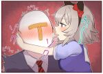 1boy 1girl animal_ears blush breasts brown_eyes commentary_request curren_chan_(umamusume) headband horse_ears horse_girl kyutai_x red_background school_uniform short_hair silver_hairs simple_background tracen_school_uniform trainer_(umamusume) umamusume whispering