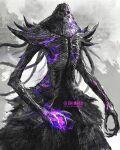 1girl artist_name claws dark_souls_(series) dark_souls_ii grin highres hollow_eyes looking_at_viewer magic monster nashandra purple_theme sharp_teeth shimhaq smile solo teeth tentacle_hair