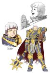 1girl :d adeptus_astartes armor backpack bag bob_cut book boots breastplate closed_mouth facial_mark gauntlets genderswap genderswap_(mtf) greaves hands_up highres holding holding_book holding_weapon looking_at_viewer lorgar mace medium_hair multiple_views open_mouth palms_together pauldrons profile ryuusei_(mark_ii) shoulder_armor sideways_mouth signature smile warhammer_40k weapon white_hair yellow_eyes
