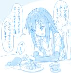 1girl 1other abyssal_ship arm_warmers asashio_(kancolle) blue_theme collared_shirt eyebrows_visible_through_hair food gotou_hisashi heart holding holding_food i-class_destroyer kantai_collection kuchiku_i-kyuu long_hair open_mouth shirt short_sleeves sitting speech_bubble translation_request