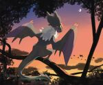 bird clouds commentary_request crescent from_behind no_humans noivern outdoors pokemon pokemon_(creature) silhouette sky solo torinoko_(miiko_draw) twilight yellow_eyes