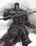 1boy armor breastplate champion_gundyr commentary dark_souls_(series) dark_souls_iii english_commentary full_armor greaves helmet highres holding holding_polearm holding_weapon iudex_gundyr looking_at_viewer male_focus pauldrons polearm red_eyes shimhaq shoulder_armor solo standing waist_cape weapon