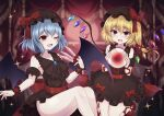 2girls absurdres alternate_color arm_ribbon ascot back_bow bangs bat_wings between_fingers black_dress black_neckwear blonde_hair blue_hair bow breasts check_commentary collarbone commentary commentary_request detached_sleeves dress eyebrows_visible_through_hair fang flandre_scarlet frilled_dress frilled_shirt_collar frilled_skirt frills hair_between_eyes hat hat_bow highres holding holding_knife knife knives_between_fingers looking_at_viewer mary_janes medium_breasts mob_cap multiple_girls open_mouth puffy_short_sleeves puffy_sleeves red_bow red_eyes red_footwear red_ribbon remilia_scarlet ribbon shoes short_hair short_sleeves siblings side_ponytail sisters skin_fang skirt sparkle subaru_(subachoco) thighs touhou wings wrist_cuffs