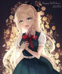 1girl :d artist_name bangs belt blonde_hair blush bow bracelet braid collared_shirt cowboy_shot danganronpa_(series) danganronpa_2:_goodbye_despair dated dress eyebrows_visible_through_hair floral_background flower foreshortening gem green_dress green_eyes happy_birthday jewelry long_hair mikao_(eanv5385) open_mouth own_hands_together puffy_short_sleeves puffy_sleeves red_bow red_neckwear shirt short_sleeves smile solo sonia_nevermind white_flower