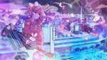 1girl absurdres badge braid broom broom_riding button_badge city city_lights cityscape commentary crescent_moon cross demon egg_yolk emoji english_commentary food fruit heart highres key like_and_retweet lock moneybag moon night night_sky original peach pink_hair pizza_slice sky sparkle stuffed_animal stuffed_bunny stuffed_toy tamagogayu1998 tokyo_(city) tower traffic_light twin_braids wand