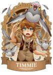 1boy bangs banner bird brown_hair character_name commentary crossover dove english_commentary eyebrows_visible_through_hair feathers genshin_impact green_eyes hair_between_eyes looking_up pidove pokemon pokemon_(creature) ry-spirit short_hair short_sleeves sidelocks tears timmie_(genshin_impact) vest_over_shirt