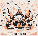 1girl bangs belt black_belt black_bow black_dress black_flower black_headwear black_neckwear blush bow bowtie chibi chinese_clothes closed_eyes closed_mouth cocktail cocktail_glass crescent cup dress drinking_glass energy flower fork glass hands_up hat heart junko_(touhou) knife long_hair long_sleeves orange_background orange_flower orange_hair orange_vest phoenix_crown pom_pom_(clothes) smile solo spoon standing star_(symbol) starry_background tabard thatpebble touhou very_long_hair vest white_background white_hair wide_sleeves