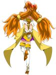 1girl absurdres amanogawa_kirara arm_strap bangs boots brown_hair closed_mouth cure_twinkle ebura_din eyebrows_visible_through_hair floating_hair from_behind full_body gloves go!_princess_precure gradient_hair high_heel_boots high_heels highres layered_skirt long_hair looking_back miniskirt multicolored_hair own_hands_clasped own_hands_together precure profile purple_skirt shiny shiny_hair simple_background skirt smile solo thigh-highs thigh_boots twintails very_long_hair violet_eyes white_background white_footwear white_gloves zettai_ryouiki