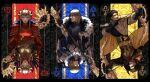 1girl 2boys areadbhar_(fire_emblem) armor axe aymr_(fire_emblem) blonde_hair bow_(weapon) cape claude_von_riegan club_(shape) dimitri_alexandre_blaiddyd dual_persona edelgard_von_hresvelg eyepatch failnaught_(fire_emblem) fake_horns fire_emblem fire_emblem:_three_houses fur_trim heart highres horned_headwear horns multiple_boys official_alternate_costume polearm silver_hair spade_(shape) spear tiara upper_body user_yprv7542 weapon