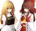 .me 2girls ascot bangs blonde_hair blush bow braid breasts brown_eyes brown_hair closed_mouth collarbone commentary detached_sleeves eyebrows_visible_through_hair frilled_bow frilled_shirt_collar frills hair_between_eyes hair_bow hair_tubes hakurei_reimu hand_on_hip highres holding holding_hair kirisame_marisa long_hair long_sleeves looking_at_viewer medium_breasts midriff multiple_girls navel no_hat no_headwear nontraditional_miko ponytail puffy_short_sleeves puffy_sleeves red_bow ribbon-trimmed_sleeves ribbon_trim sarashi short_sleeves simple_background single_braid touhou upper_body white_background yellow_neckwear
