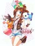 1girl ;d bangs blue_eyes blue_shorts blush boots brown_footwear brown_hair brown_vest character_name commentary dated eyelashes hatted_pokemon highres hilda_(pokemon) long_hair looking_at_viewer one_eye_closed open_clothes open_mouth open_vest oshawott pokemon pokemon_(creature) pokemon_(game) pokemon_bw shirt short_shorts shorts sidelocks smile snivy snowsakurachan tepig tongue vest white_shirt