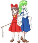 2girls ascot back-to-back black_footwear blue_dress blue_skirt bow breasts brown_eyes brown_footwear brown_hair collar collared_shirt commentary_request detached_sleeves dress flat_chest frog_hair_ornament gohei green_eyes green_hair hair_bow hair_ornament hair_tubes hakurei_reimu height_difference high_heels highres kochiya_sanae long_hair long_skirt looking_at_viewer mary_janes medium_breasts multiple_girls nontraditional_miko red_bow red_shirt red_skirt ribbon-trimmed_sleeves ribbon_trim s-a-murai shirt shoes short_hair sidelocks simple_background skirt skirt_set sleeveless sleeveless_shirt snake_hair_ornament socks thigh-highs touhou white_background white_collar white_legwear white_shirt yellow_neckwear