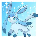 absurdres animal_focus artist_name bangs blue_background blue_hair blue_sclera blue_theme border colored_sclera commentary english_commentary from_side full_body glaceon gradient gradient_background highres kryztar long_hair no_humans open_mouth outside_border pokemon pokemon_(creature) shiny shiny_hair signature solo sparkle standing twintails white_border white_eyes