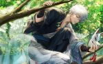 1boy arm_up bangs bead_necklace beads black_kimono bridal_gauntlets closed_mouth commentary_request day eyebrows_visible_through_hair fox_mask fox_tail gintama hair_between_eyes highres holding holding_mask in_tree japanese_clothes jewelry kemonomimi_mode kimono knee_up kyuubi long_sleeves looking_at_viewer male_focus mask multiple_tails necklace one_knee outdoors red_eyes sakata_gintoki socks solo tail tree twitter_username uraki_(tetsu420) white_hair white_kimono white_legwear wide_sleeves