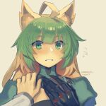 1boy 1girl ahoge atalanta_(fate) black_gloves blonde_hair blush boa_(brianoa) commentary english_commentary fate/apocrypha fate_(series) flying_sweatdrops gloves green_eyes green_hair grey_background hand_up highres looking_at_viewer multicolored_hair parted_lips pov pov_hands simple_background solo_focus twitter_username two-tone_hair upper_body