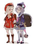 2girls :d absurdres ahoge backpack bag bandaged_leg bandages bangs bead_necklace beads black_footwear bloomers brown_footwear brown_gloves brown_scarf cabbie_hat cape chinese_clothes clover_print coat coin_hair_ornament commentary_request eyebrows_visible_through_hair full_body genshin_impact gloves hair_between_eyes hat hat_feather hat_ornament highres holding_hands jewelry jiangshi klee_(genshin_impact) kurattes light_brown_hair long_hair long_sleeves looking_at_another low_twintails multiple_girls necklace ofuda open_mouth orb pointy_ears qing_guanmao qiqi_(genshin_impact) randoseru red_coat red_eyes scarf shoes sidelocks simple_background sketch smile standing thigh-highs twintails underwear vision_(genshin_impact) white_background white_legwear wide_sleeves yin_yang yin_yang_orb zettai_ryouiki