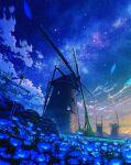 blue_flower clouds commentary_request field flower flower_field highres mocha_(cotton) moss night night_sky no_humans original outdoors overgrown petals scenery sky star_(sky) starry_sky windmill