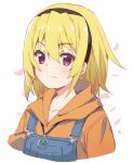 1girl bangs black_hairband blonde_hair brown_hoodie closed_mouth collarbone commentary_request cropped_torso eyebrows_visible_through_hair fang fang_out hair_between_eyes hairband highres higurashi_no_naku_koro_ni hood hood_down hoodie houjou_satoko long_hair looking_at_viewer meito_(maze) overalls petals simple_background smile solo upper_body violet_eyes white_background