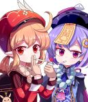 2girls ahoge backpack bag bag_charm bangs bead_necklace beads brown_gloves brown_scarf cabbie_hat cape charm_(object) chinese_clothes cigarette clover_print coat coin_hair_ornament commentary_request dodoco_(genshin_impact) earrings eyebrows_visible_through_hair genshin_impact gloves hair_between_eyes hat hat_feather hat_ornament highres holding holding_cigarette holding_lighter jewelry jiangshi klee_(genshin_impact) light_brown_hair lighter long_hair long_sleeves looking_at_viewer low_ponytail low_twintails mouth_hold multiple_girls necklace ofuda orange_eyes pointy_ears purple_hair qing_guanmao qiqi_(genshin_impact) randoseru red_coat red_headwear scarf sidelocks sseopik twintails violet_eyes white_background