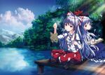 2girls absurdres back-to-back bangs blue_hair blue_sky blush book boots bow breasts bridge brown_footwear cigarette clouds cloudy_sky collared_shirt commentary_request crossed_legs dress fishing_rod frilled_dress frills fujiwara_no_mokou hair_bow hat hat_ribbon highres indian_style kamishirasawa_keine knee_boots large_breasts leaf light_rays long_hair looking_at_viewer looking_back mountainous_horizon multiple_girls new_mask_of_hope ofuda ofuda_on_clothes pants red_bow red_eyes red_pants reflection ribbon river shirt short_sleeves silver_hair sitting sky sunbeam sunlight suspenders touhou tree violet_eyes white_shirt wing_collar yamanakaume