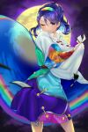 1girl blue_eyes blue_hair cape card cloak cowboy_shot dress highres holding holding_cape holding_card holding_clothes moon multicolored multicolored_clothes multicolored_dress multicolored_hairband one_eye_closed patchwork_clothes rainbow_gradient red_button sky_print tattered_cape tenkyuu_chimata touhou two-sided_cape two-sided_fabric wankosoba white_cape white_cloak zipper