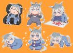 :< afterimage animal_ears baby bangs blue_eyes blush butterfly_sitting child_safety_seat clapping commentary_request crayon drawing food grey_hair horse_ears horse_girl horse_tail jitome kusanagi_kaoru long_hair looking_at_viewer mouth_drool multicolored_hair multiple_views oguri_cap_(umamusume) onesie orange_background raised_eyebrows simple_background sitting sleeping tail tearing_up trembling triangle_mouth two-tone_hair umamusume v-shaped_eyebrows wilted_ahoge younger