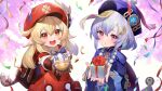 2girls ahoge backpack bag bangs bead_necklace beads blonde_hair blue_dress blue_headwear blush braid braided_ponytail breasts brown_gloves cabbie_hat coin_hair_ornament dress genshin_impact gloves hat hat_feather highres jewelry jiangshi klee_(genshin_impact) long_hair long_sleeves looking_at_viewer low_twintails medium_hair multiple_girls necklace ofuda open_mouth pointy_ears purple_hair qing_guanmao qiqi_(genshin_impact) raijuu_(bakanara) red_dress red_eyes red_headwear sidelocks small_breasts smile twintails very_long_hair violet_eyes