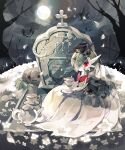 bare_tree clouds coco7 colored_skin cup flower gardevoir holding holding_cup holding_saucer mega_gardevoir mega_pokemon moon night outdoors pokemon pokemon_(creature) pumpkin red_eyes saucer sky symbol-only_commentary tea teacup teapot tombstone tree white_flower white_skin