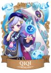 1girl bangs banner bead_necklace beads black_nails braid cape character_name chinese_clothes commentary crossover english_commentary eyebrows_visible_through_hair froslass genshin_impact ghost hair_between_eyes hat jewelry jiangshi long_hair long_sleeves looking_at_viewer low_ponytail necklace orb parted_lips pokemon pokemon_(creature) purple_hair qing_guanmao qiqi_(genshin_impact) reaching_out ry-spirit sidelocks single_braid snowflakes violet_eyes wide_sleeves