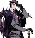 1boy alternate_costume beads black_gloves blue_hair cane closed_mouth cu_chulainn_(fate) cu_chulainn_alter_(fate/grand_order) dark_blue_hair dark_persona earrings facepaint fate/grand_order fate_(series) fedora formal gloves hair_beads hair_ornament hat iz_izhara jacket jewelry long_hair long_sleeves looking_at_viewer male_focus monster_boy necktie ponytail red_eyes simple_background solo spikes suit tail white_background