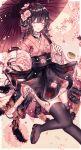 1girl :d absurdres arthropod_girl bangs black_hair black_legwear black_skirt blush bow braid cherry_blossoms commentary eyebrows_visible_through_hair fang flower grey_eyes hair_bow hair_flower hair_ornament heterochromia highres holding holding_umbrella jacket japanese_clothes kimono lolita_fashion long_hair looking_at_viewer obi off_shoulder oil-paper_umbrella open_mouth original pink_flower pink_jacket pink_kimono red_bow sandals sash skirt smile solo spider_girl symbol-only_commentary thigh-highs translation_request twin_braids umbrella wa_lolita y_o_u_k_a yellow_eyes