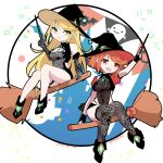 2girls adapted_costume blonde_hair broom broom_riding halloween hat highres multiple_girls mythra_(xenoblade) nayuta-kanata pyra_(xenoblade) red_eyes redhead witch witch_hat xenoblade_chronicles_(series) xenoblade_chronicles_2 yellow_eyes