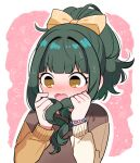 1girl :o bangs bead_bracelet beads blunt_bangs blush bow bracelet embarrassed fang floral_print flying_sweatdrops fujii_tomo full-face_blush gamo green_hair hair_bow hair_intakes high_ponytail holding holding_hair idolmaster idolmaster_cinderella_girls jewelry looking_down multicolored multicolored_clothes multicolored_sweater outline ponytail skin_fang solo sweatdrop two-tone_background upper_body wavy_hair